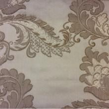 Элитная ткань с вышивкой из атласа, вискозы Varese, цвет Cappuccino. Бельгия, Европа, портьерная. На бежевом фоне бронзовые цветы, пейсли