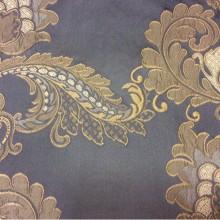 Элитная ткань для штор с вышивкой Varese, цвет Magnetic. Европа, Бельгия. На синем фоне бежевые цветы, пейсли