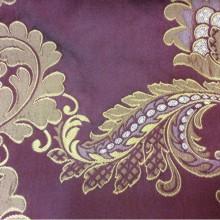 Атлас с вышивкой на бордовом фоне золотистые цветы, пейсли Varese, цвет Sangria. Бельгия, Европа, портьерная ткань для штор.