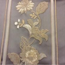 Бельгийская ткань из атласа, вышивка Isernia, цвет: Fog. Европа, Бельгия, вискоза, полиэстер, портьерная средней плотности. На сером фоне бежевые цветы