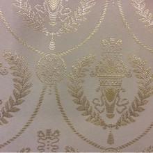 Ткань атлас в стиле ампир 2381/12. Европа, Франция, портьерная. Ванильный фон, золотистый орнамент