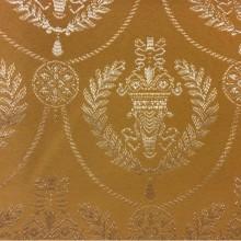 Красивая атласная ткань с вышивкой 2381/22. Европа, Франция, портьерная. Фон цвета охры, серебристый орнамент