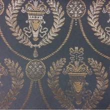 Голубая с серебром ткань из атласа с вышивкой в стиле ампир 2381/41. Франция, Европа, портьерная. Насыщенный голубой фон, серебристый орнамент