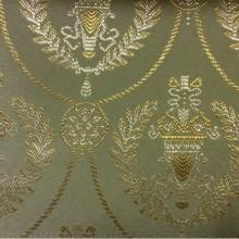 Французская портьерная ткань для штор из атласа с вышивкой 2381/51. Европа, Франция, барокко, ампир. Оливковый фон, золотистый орнамент