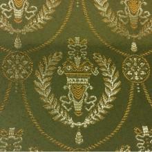Красивая французская ткань в классическом стиле 2381/50. Европа, Франция, атлас с вышивкой, портьерная ткань. Зелёный фон, золотистый орнамент