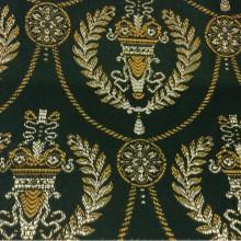 Французский атлас с вышивкой в стиле ампир 2381/55. Европа, Франция, портьерная ткань. Тёмно-зелёный фон, золотистый орнамент