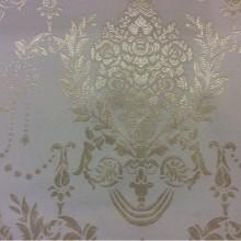 Атласная ткань в классическом стиле с вышивкой 2377/12. Европа, Франция, портьерная ткань. Ванильный фон, золотистый орнамент