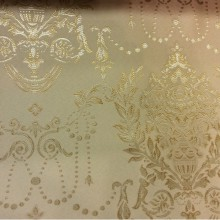 Атлас для портьер с вышивкой в классическом стиле (ампир, барокко) 2377/24. Франция, Европа, портьерная. Кремовый фон, золотистый орнамент