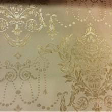 Атласная ткань с вышивкой для гостиной, спальни 2377/22. Франция, Европа, портьерная ткань в стиле ампир. Фон цвета охры, серебристый орнамент