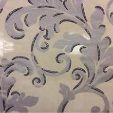 Тюль для гостиной или спальни Belvedere 09. Европа, Италия, тонкий тюль в стиле барокко. На прозрачном фоне серебристый орнамент с блёстками