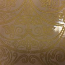 Итальянский тюль для спальни или гостиной с купонным рисунком Belvedere 13. Европа, Италия, тюль, барокко, классика. На чёрном фоне бронзовый орнамент