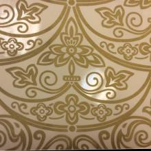 Тюль в стиле барокко, (рисунок купонный), вискоза, органза Belvedere 14. Италия, Европа, тонкий тюль для штор. На прозрачном фоне бронзовый орнамент