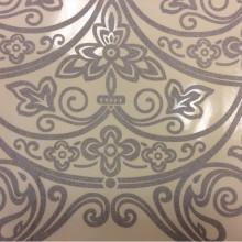 Итальянский тюль для штор в стиле барокко (рисунок купонный) Belvedere 15. Европа, Италия, тонкий тюль. На прозрачном фоне серебристый орнамент