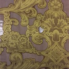 Итальянская ткань для штор из вискозы и органзы Belvedere 05. Италия, Европа, тонкий тюль. Крупноузорный ( рисунок купонный). Стиль ткани барокко. На шоколадном фоне бронзовый орнамент
