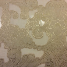 Органзы, вискоза, барокко Belvedere 06. Европа, Италия, тонкий элитный тюль. На прозрачном фоне кремовый орнамент