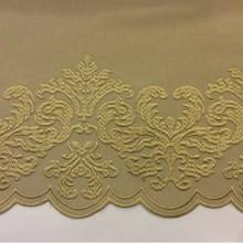 Однотонная фланель с атласной обработкой низа 2399/21. Италия, Европа, портьерная ткань. На бежевом фоне бронзовый орнамент