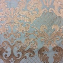 Однотонный атлас с атласной обработкой низа (высота орнамента 40 см) 2418/41. Италия, портьерная ткань. На фоне цвета морской волны золотистый орнамент
