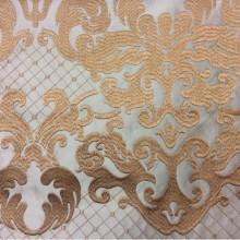 Однотонный атлас с атласной обработкой низа (высота орнамента 40 см) 2418/45. Европа, Италия, портьерная ткань средней плотности. На бирюзовом фоне бронзовый орнамент