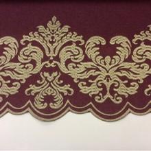 Однотонная фланель с атласной обработкой низа 2399/36. Европа, Италия, портьерная ткань. На тёмно-малиновом фоне бронзовый орнамент