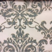 Тюлевая ткань с орнаментом «дамаск» в стиле барокко 2392/45. Европа, Италия, тюль для штор. На прозрачном фоне бирюзовый орнамент «дамаски»