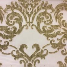 Красивый итальянский тюль из вискозы 2392/51 заказать в Москве. Европа, Италия, тюль. На прозрачном фоне зелёный орнамент «дамаск»