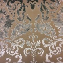 Набивка из бархата, хлопок, итальянская портьерная ткань для штор 2386/41. Европа, Италия, портьерная. На бежевом фоне бархатный орнамент цвета морской волны