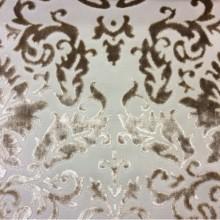 Набивная ткань из хлопка и бархата в стиле барокко 2386/21. Европа, Италия, портьерная ткань. На бежевом фоне бронзовый бархат