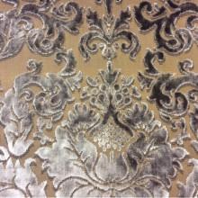 Итальянская портьерная ткань из хлопка 2386/22. Европа, Италия, портьерная ткань. На горчичном фоне шоколадный орнамент из бархата
