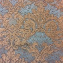 Красивая, итальянская портьерная ткань в классическом стиле 2389/45. Европа, Италия. Бирюзовый фон, титановый орнамент