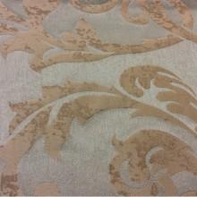 Льняная портьерная ткань для штор 2390/41. Европа, Италия, портьерная. Фон цвета морской волны, бежевый орнамент «под старину»