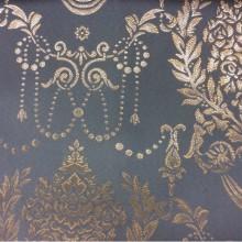 Ткань из атласа с вышивкой из Франции 2377/41. Европа, Франция, портьерная. Насыщенный голубой фон, серебристый орнамент