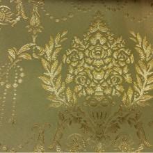 Купить атлас с вышивкой в Москве 2377/51. Франция, Европа, портьерная ткань для штор. Оливковый фон, золотистый орнамент