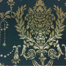 Тёмно-зеленая ткань для штор из атласа 2377/55. Европа, Франция, портьерная. Тёмно-зелёный фон, золотистый орнамент