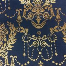 Элитная ткань из атласа с вышивкой из Франции 2377/40. Европа, Франция, портьерная ткань для штор. Тёмно-синий фон, золотистый орнамент