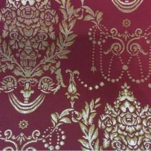 Портьерная ткань из атласа с вышивкой в стиле ампир 2377/30. Франция, Европа, портьерная. Красный фон, золотистый орнамент