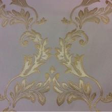 Ванильная ткань в стиле барокко 2375/15. Франция, Европа, атлас портьерный. Ванильный фон, насыщенный золотой орнамент