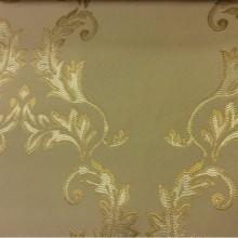 Орнаментальная ткань из атласа в стиле барокко 2375/24. Европа, Франция, портьерная ткань. Кремовый фон, золотой орнамент