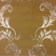 Красивая ткань цвета охры с серебристым орнаментом 2375/22. Франция, Европа, портьерная ткань для штор в классическом стиле.