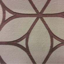 Жатая ткань с выпуклым нанесением, эффект 3D Alicante 34. Европа, Италия, портьерная ткань. Серовато-брусничный фон