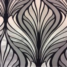 Атлас портьерный с хлопковым бархатным нанесением Trini, col 5. Турция, портьерная, плотная ткань для штор. Серебристо-черный орнамент