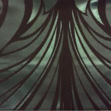 Атлас с бархатным хлопковым нанесением Trini, col 4. Турция, портьерная ткань для штор. Изумрудно-чёрный орнамент