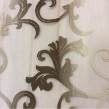 Органза с вискозной нитью в Москве Eflani, col 12. Турция, портьерная ткань для штор. На прозрачном фоне шоколадно-бежевый принт с переходом тона