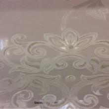 Тонкий тюль из Италии с принтом Ornella 18. Европа, Италия, тюль прозрачный для штор. На светлом фоне ванильный принт с люрексом