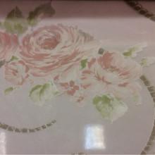 Красивый, тонкий итальянский тюль с вискозой Ornella 29. Италия, Европа, тюлевая ткань. На прозрачном фоне цветочный принт розового цвета