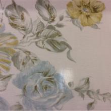 Красивая жатая ткань с нитью из бамбука Ornella 32. Европа, Италия, тюлевая ткань. На светлом фоне цветочный принт голубого и жёлтого оттенков, акварель