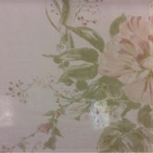 Жатая ткань с бамбуковой нитью Ornella 33. Италия, Европа, тюлевая ткань. На светлом фоне цветочный принт розового с зеленью оттенка, акварель