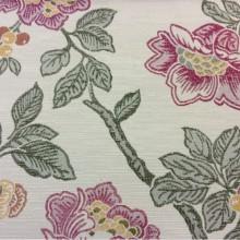 Портьерная ткань с цветочным орнаментом Paloma 26. Европа, Испания, портьерная ткань для штор. На светлом фоне цветочный орнамент, микс