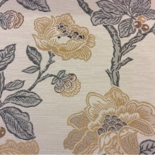 Ткань с цветочным принтом в классическом стиле Paloma 33. Испания, Европа, портьерная. На светлом фоне цветочный орнамент, микс