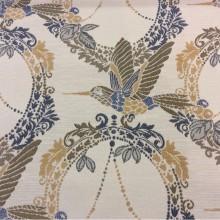 Красивая портьерная ткань с колибри в стиле жуи Paloma 20. Европа, Испания, портьерная. На светлом фоне изображение птиц синего, зелёного, бежевого оттенков