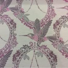 Портьерная ткань с хлопковой нитью Paloma 41. Европа, Испания, плотная портьерная ткань. На светлом фоне изображение птиц розово-серых оттенков